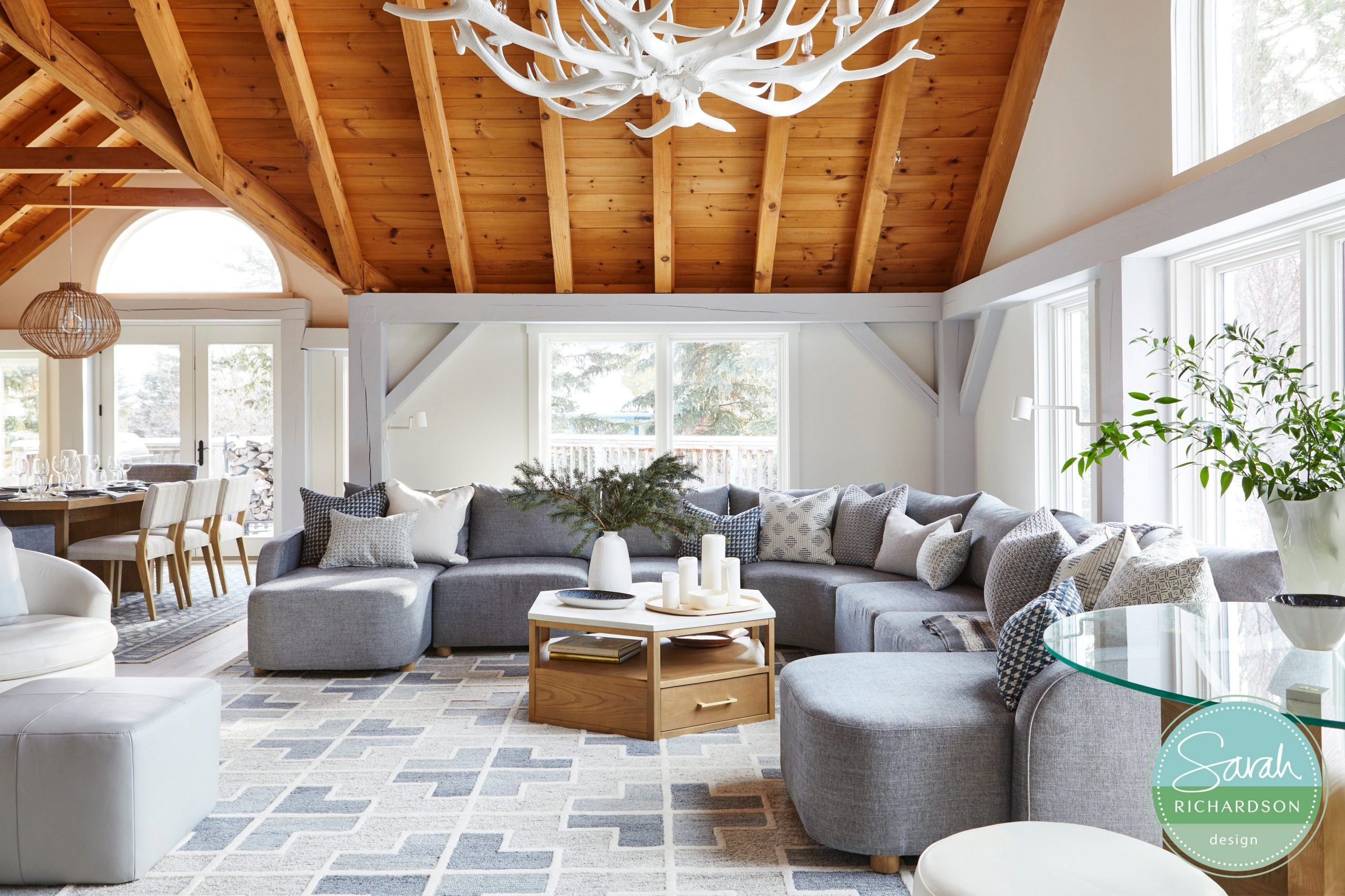 Normerican Timber Frames, Sarah Richardson Design, Living Room, Painted Timbers, Natural Timbers