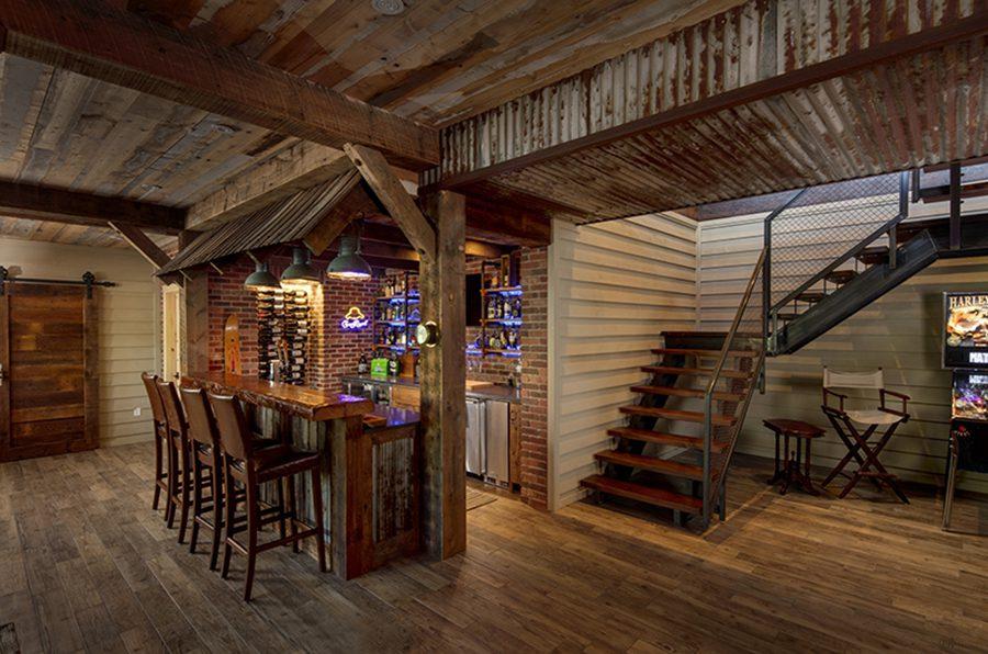 Normerica Timber Frame, Interior, Cottage, Basement, Fireplace, Bar 2