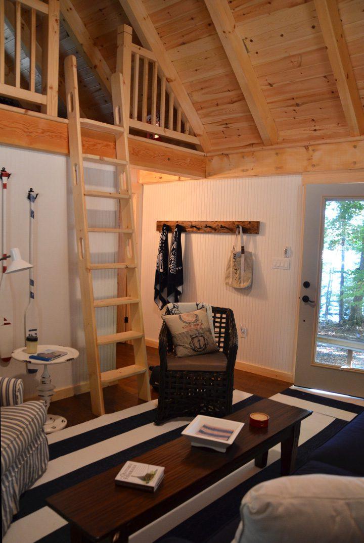 Normerica Timber Frame, Interior, Cabin, Bunkie, Loft, Living Room