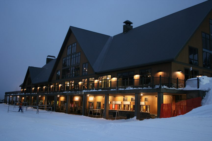 Normerica Timber Frame, Commercial Project, Cypress Mountain Day Lodge, Ski Resort, West Vancouver, British Columbia, Exterior, Night