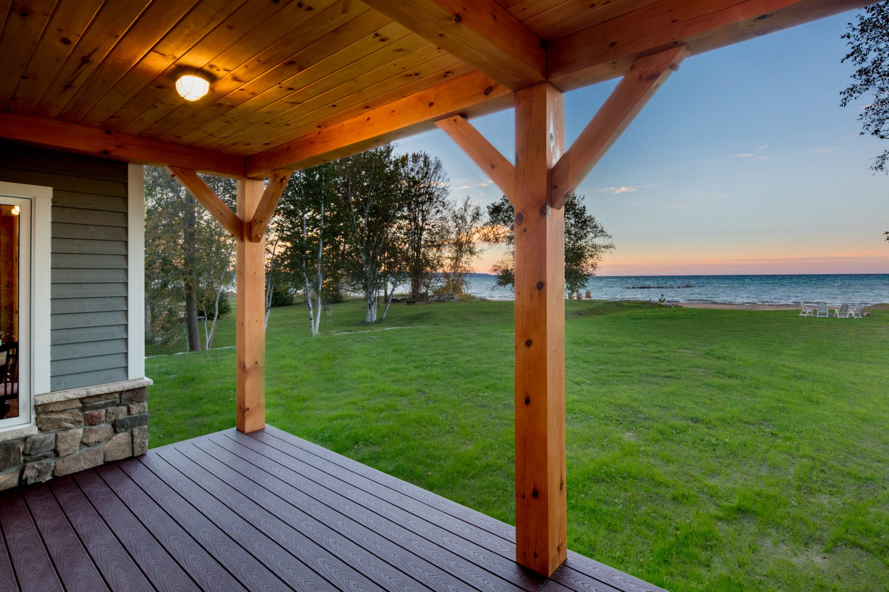 Normerica Timber Frame, Exterior, Cottage, Covered Porch, View of the Lake