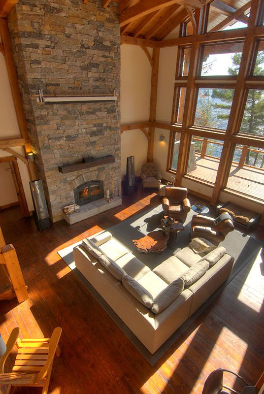 Normerica Timber Frame, Interior, Custom, Cottage, Fireplace, Great Room, Living Room