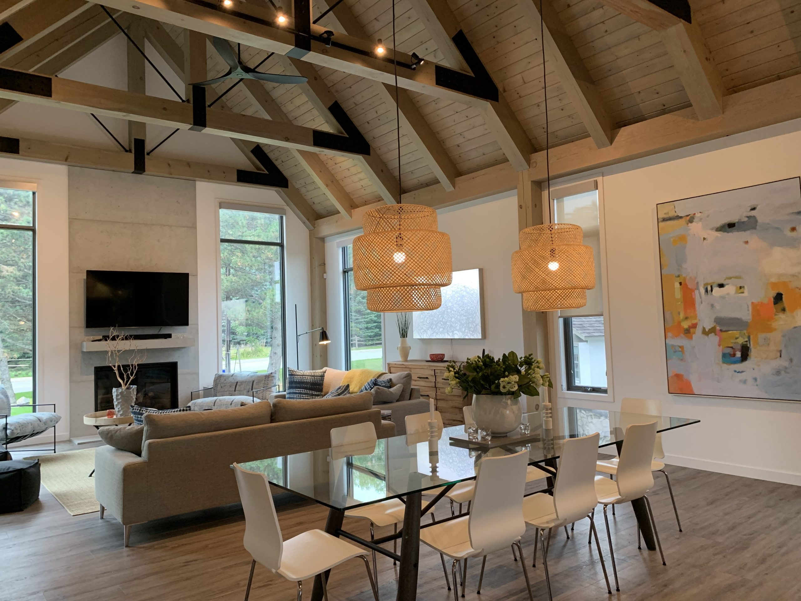 Normerica Timber Frame, Interior, Kitchen, Dining Room, Open Concept, Modern, Contemporary