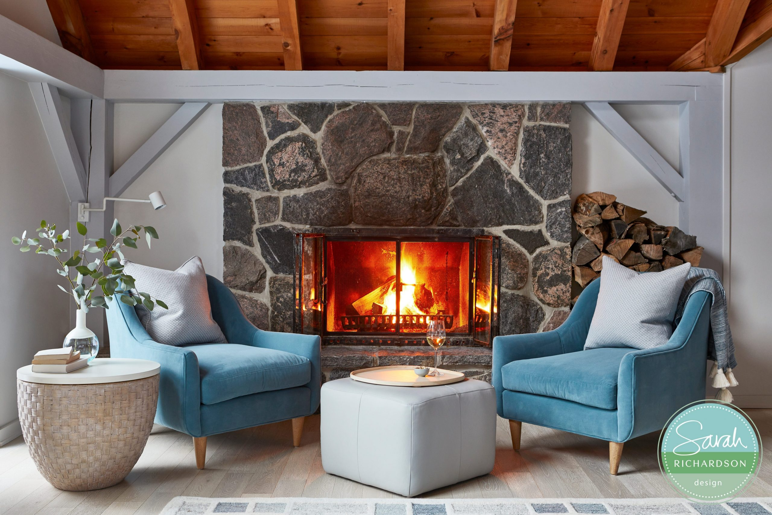 Normerica Timber Frames, Sarah Richardson Design, Living Room, Fireplace, Cathedral Ceiling, Painted Timbers, Natural Timbers