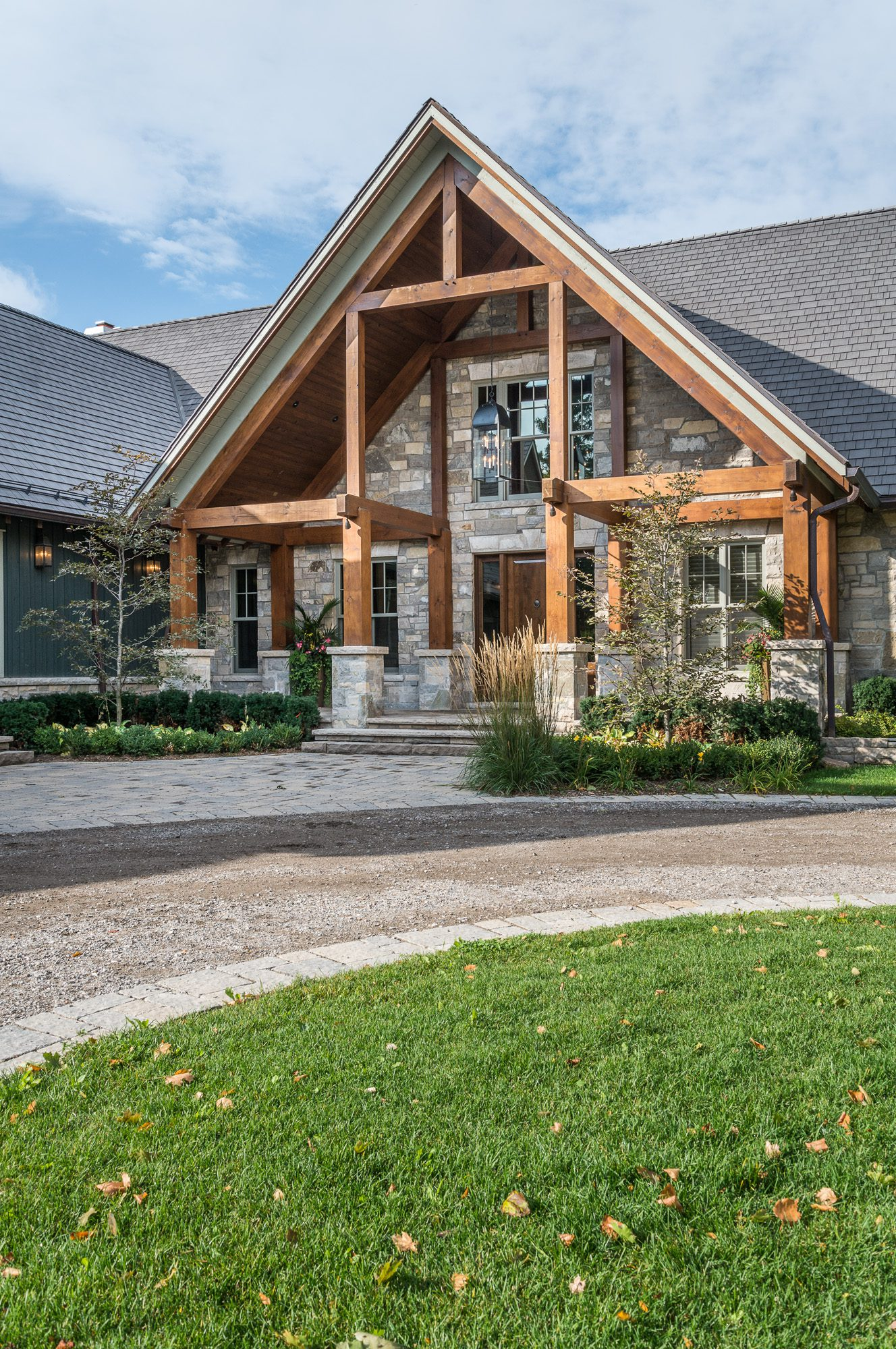 Normerica Timber Frame, Exterior, Country House, Porch, Front View