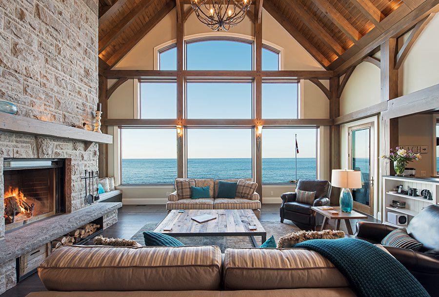 Normerica Timber Frame, Interior, Cottage, Living Room, Great Room, Fireplace, Lake View, Cathedral Ceiling