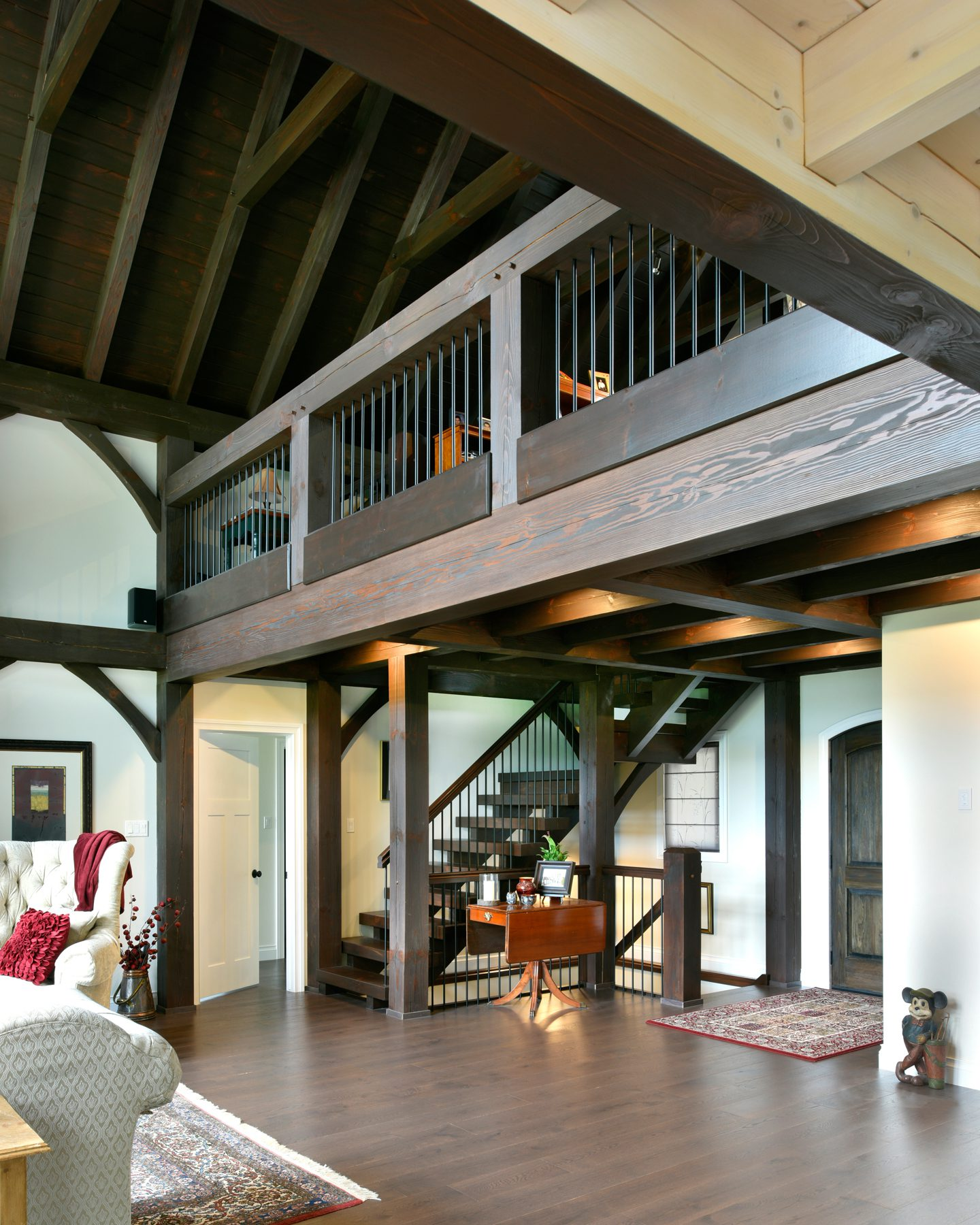 Normerica Timber Frame, Interior, Cottage, Loft, Cathedral Ceiling, Open Concept, Stairs, Entry