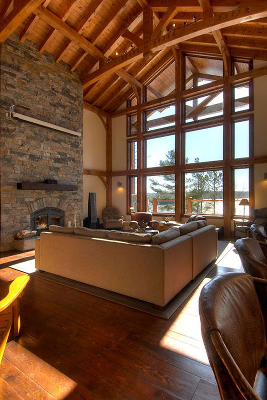 Normerica Timber Frame, Interior, Custom, Cottage, Fireplace, Great Room, Living Room, Cathedral Ceiling