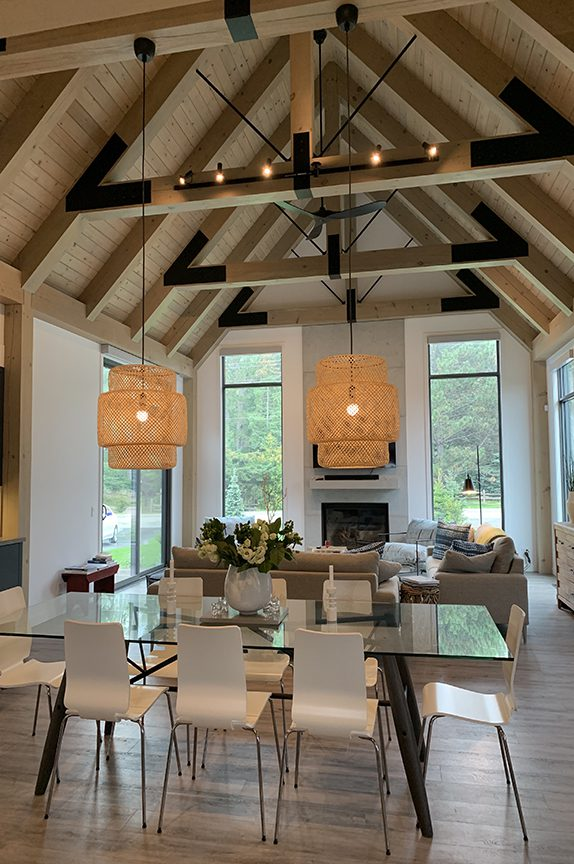 Normerica Timber Frame, Interior, Great Room, Living Room, Dining Room, Open Concept, Contemporary, Modern, Cathedral Ceiling