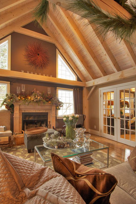 Normerica Timber Frame, Interior, Living Room, Great Room, Cathedral Ceiling