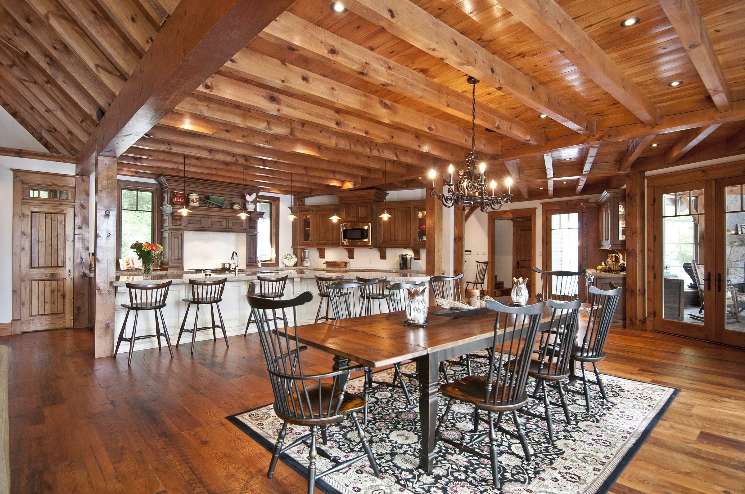 Normerica Timber Frame, Interior, Cottage, Dining Room, Kitchen, Open Concept, Cathedral Ceiling