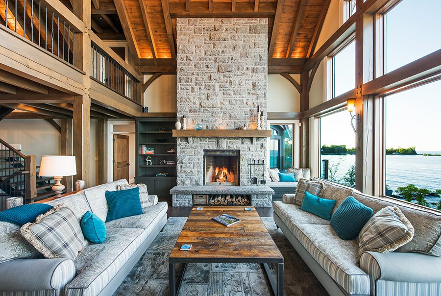 Normerica Timber Frame, Interior, Cottage, Living Room, Great Room, Fireplace, Cathedral Ceiling, Open Concept, Loft