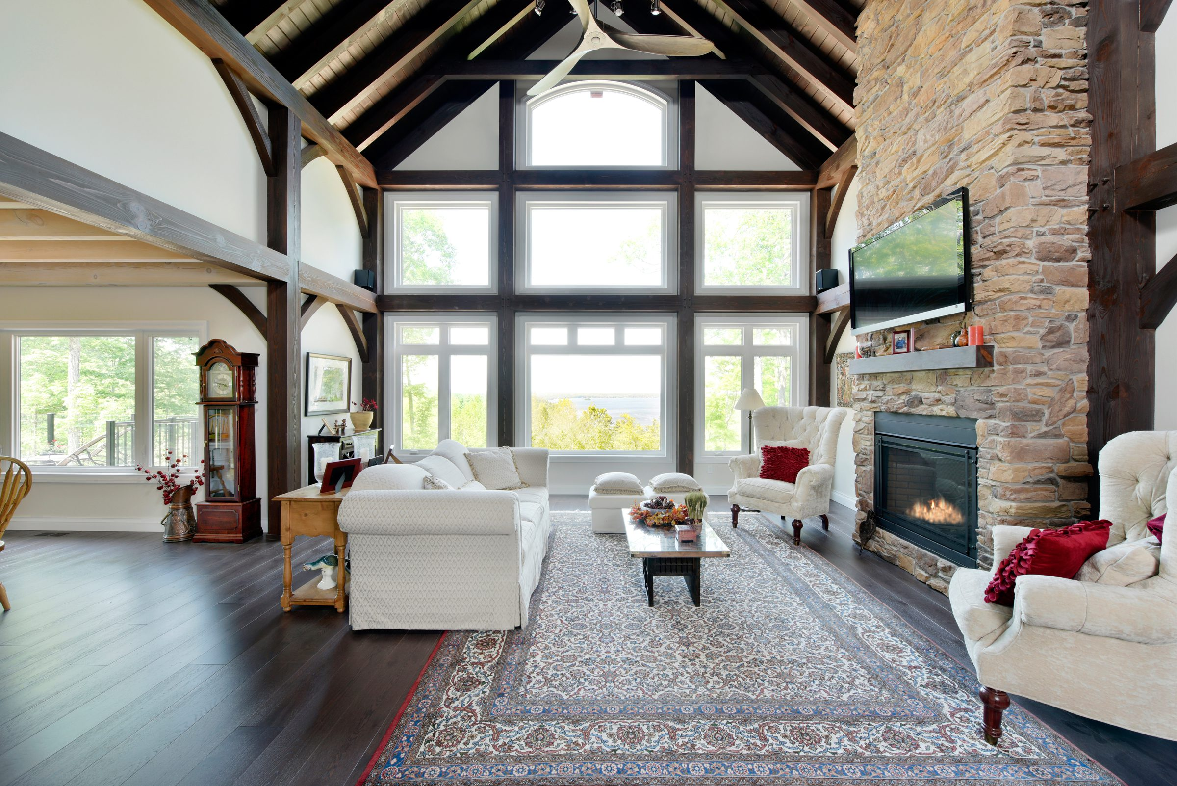 Normerica Timber Frame, Interior, Cottage, Living Room, Great Room, Fireplace, Open Concept