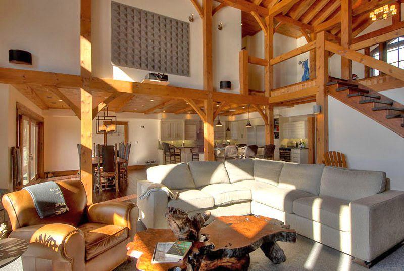 Normerica Timber Frame, Interior, Custom, Cottage, Great Room, Living Room, Stairs