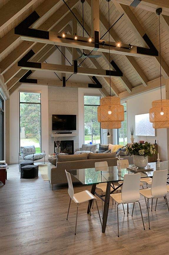 Normerica Timber Frame, Interior, Kitchen, Dining Room, Open Concept, Modern, Contemporary, Cathedral Ceiling