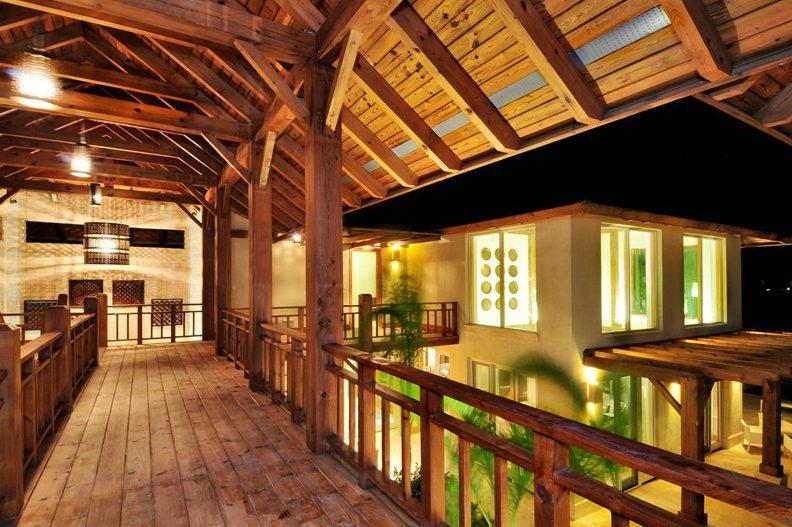 Normerica Timber Frames, Commercial Project, Las Iguanas Villas, Dominican Republic, Interior, Upper Stairway, Villas