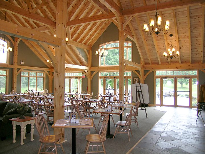 Normerica Timber Frames, Commercial Projects, Windermere Golf & Country Club, Muskoka, Ontario, Golf Clubhouse, Interior