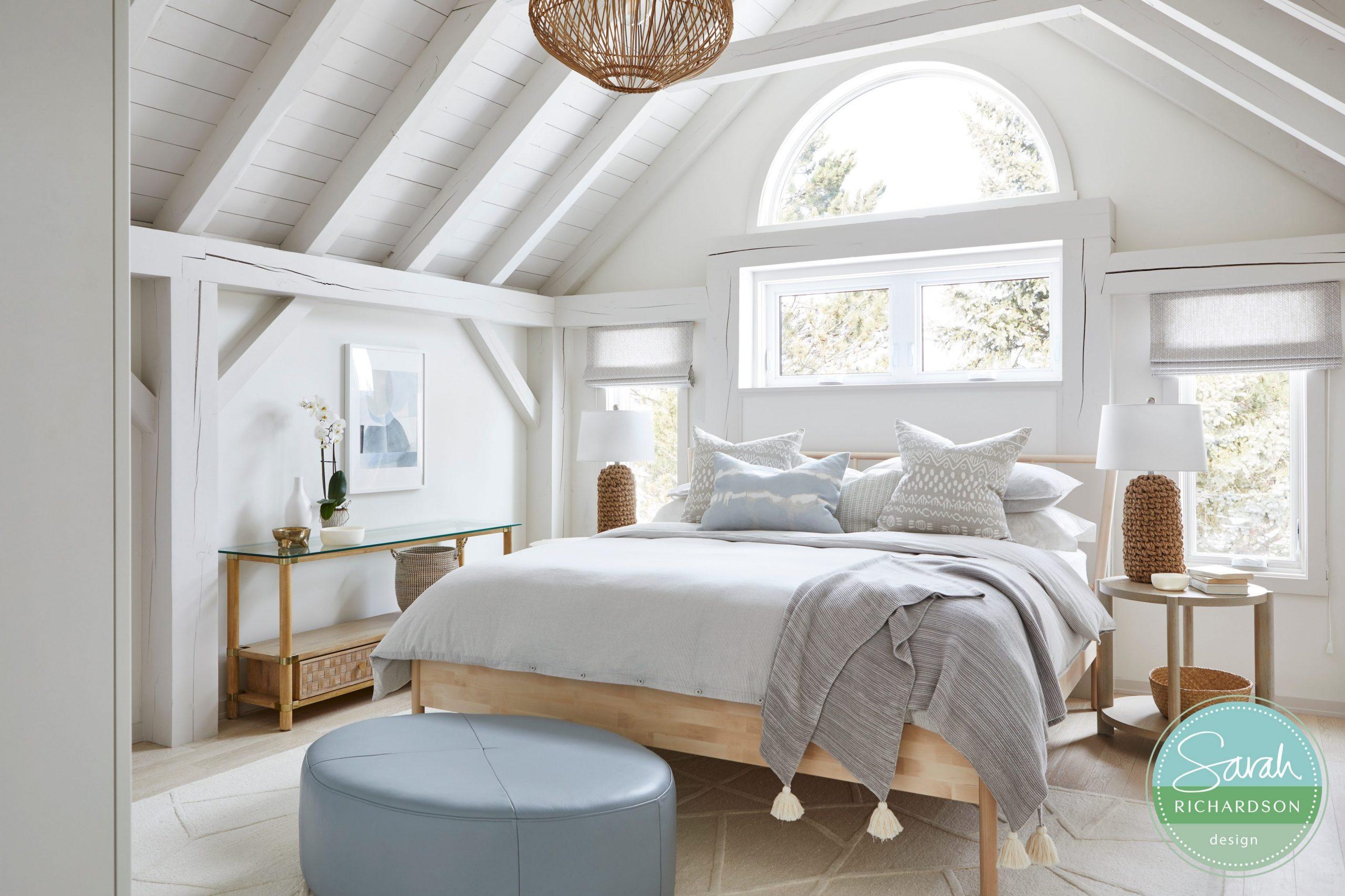 Normerica Timber Frames, Sarah Richardson Design, Master Bedroom, Painted Timbers