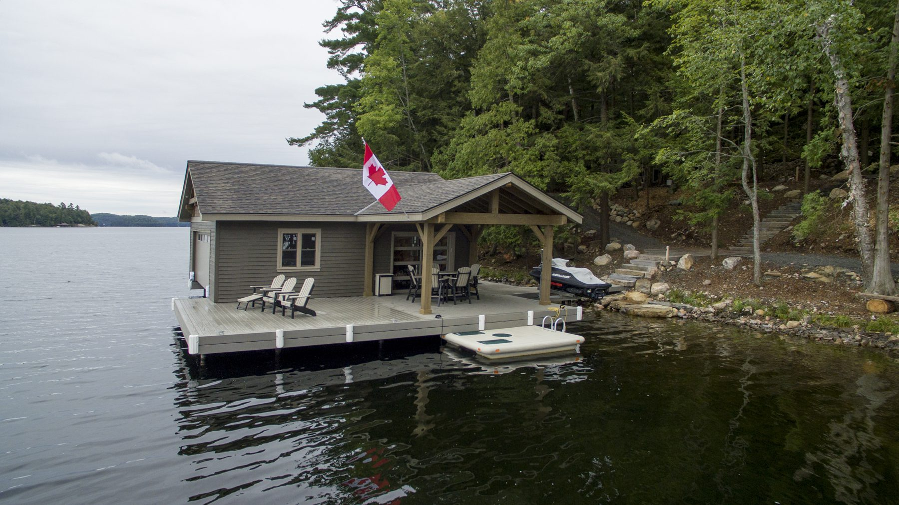 Normerica Timber Frame, Exterior, Cottage, Lake, Boathouse 2