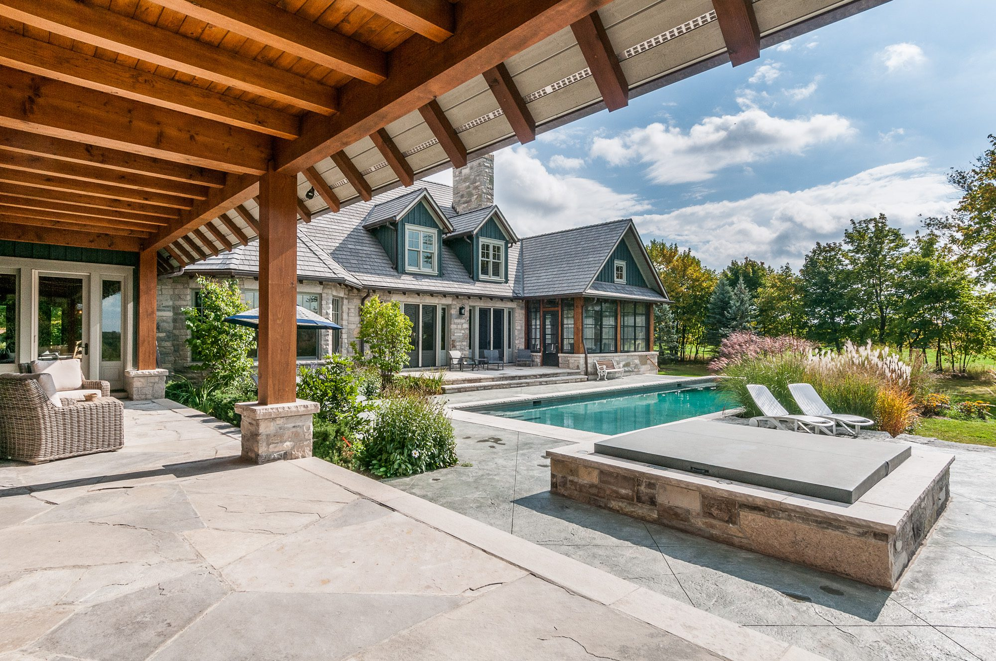 Normerica Timber Frame, Exterior, Country House, Porch, Pool, Outdoor Living, Outdoor Entertaining