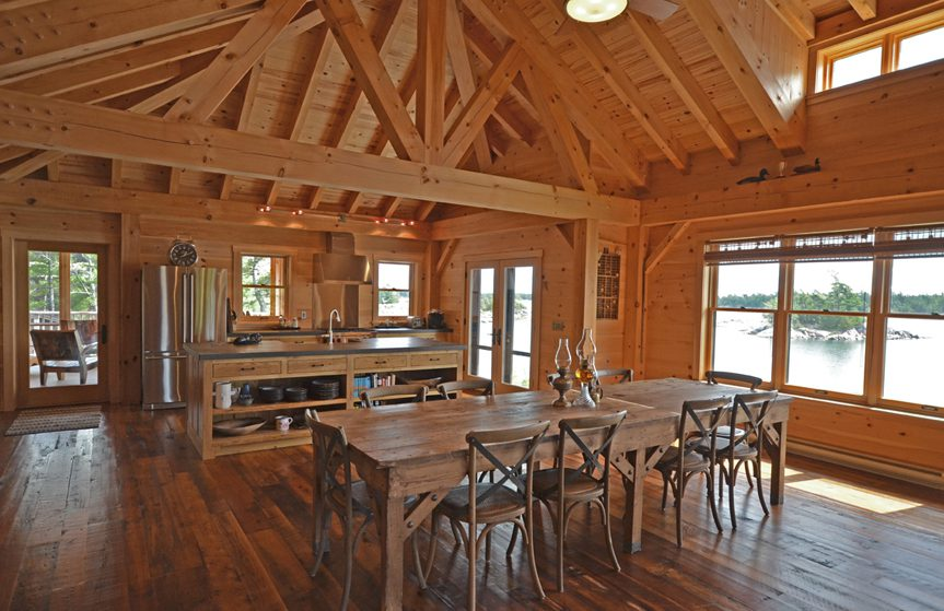Normerica Timber Frame, Interior, Cottage, Kitchen, Dining Room, Cathedral Ceiling