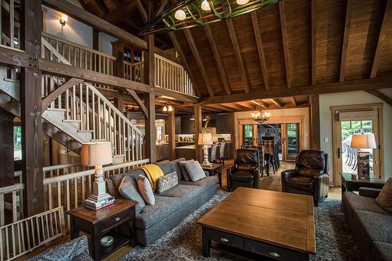 Normerica Timber Frame, Interior, Cottage, Living Room, Great Room, Cathedral Ceiling, Stairs, Loft