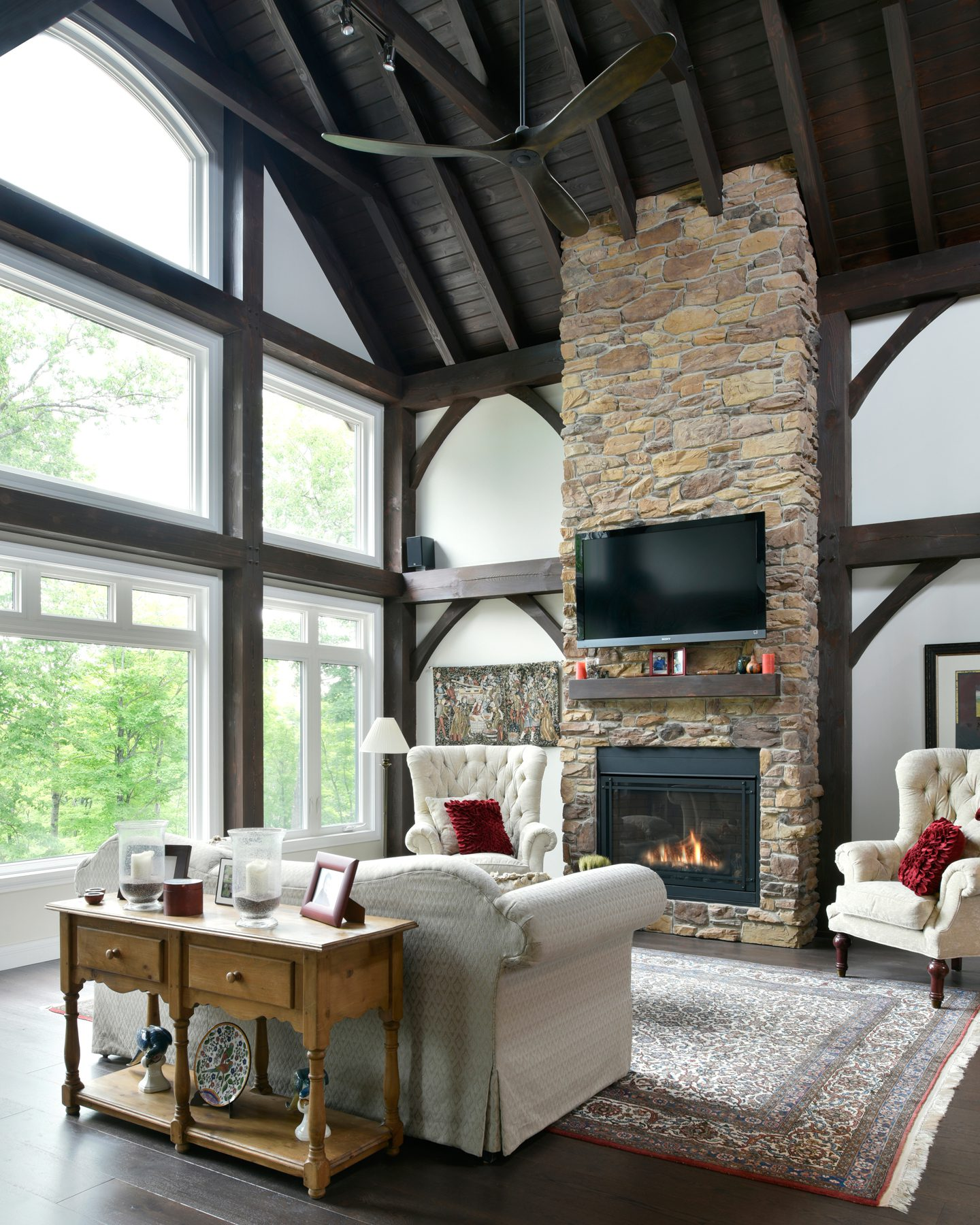 Normerica Timber Frame, Interior, Cottage, Living Room, Great Room, Fireplace