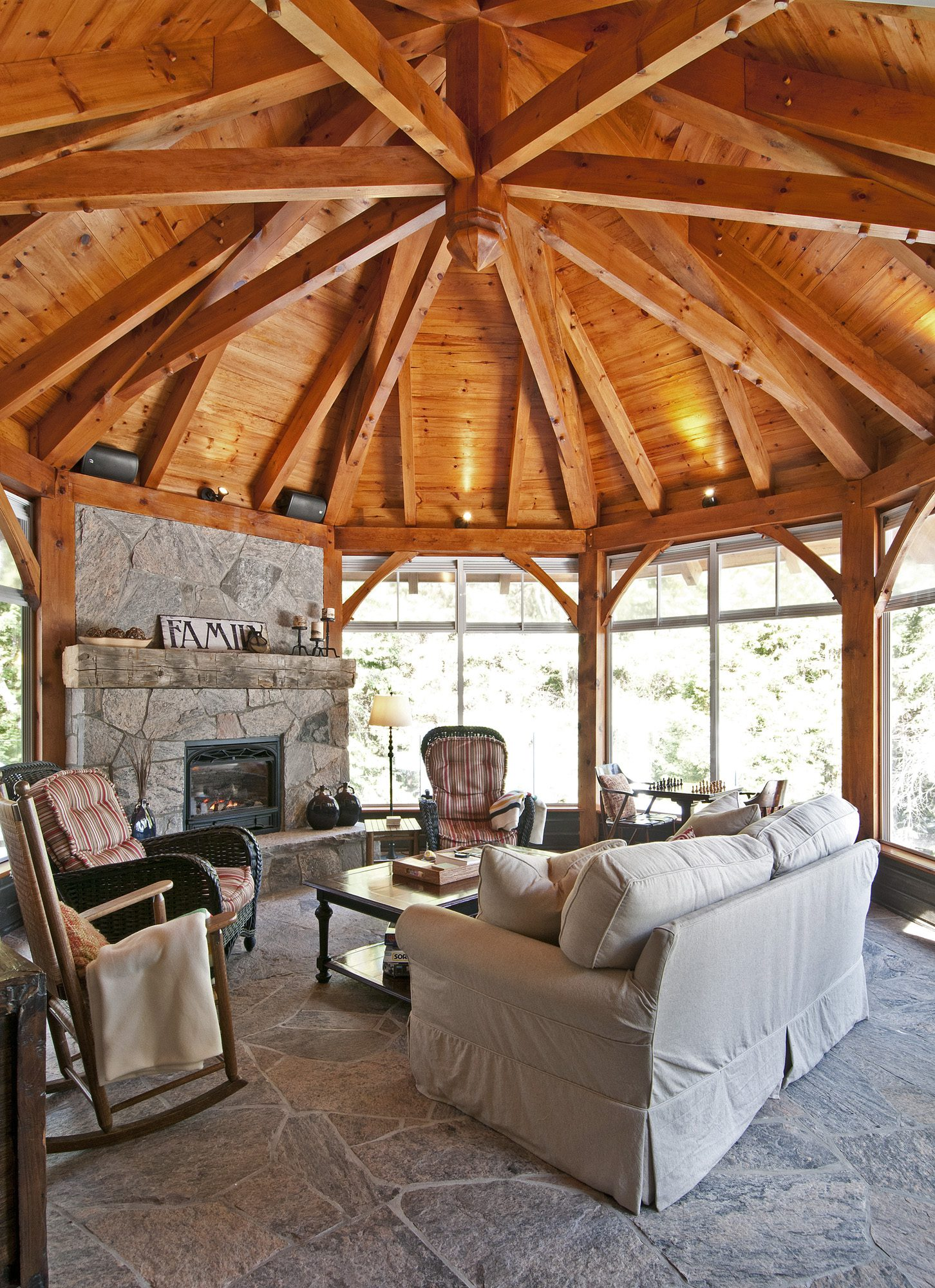 Normerica Timber Frame, Interior, Cottage, Screened Poch, Fireplace, Round Room