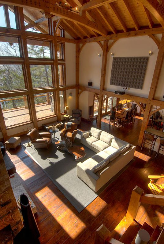 Normerica Timber Frame, Interior, Custom, Cottage, Great Room, Living Room, Cathedral Ceiling