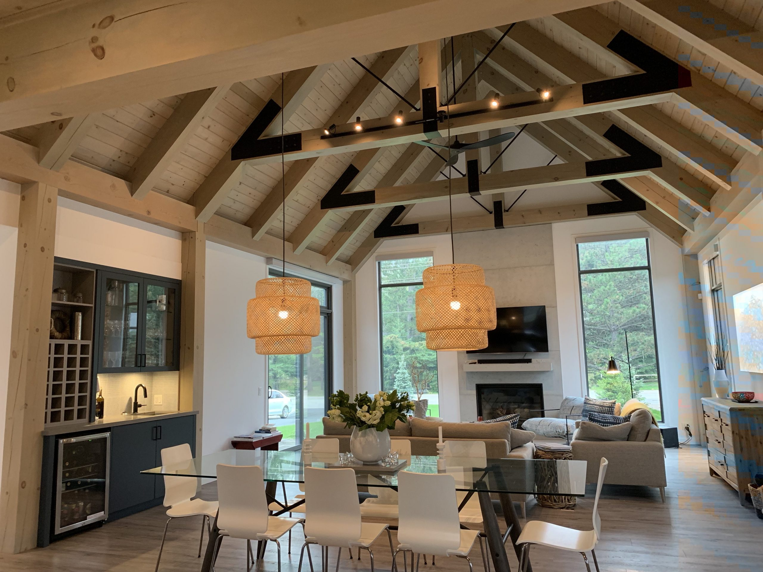 Normerica Timber Frame, Interior, Kitchen, Dining Room, Open Concept, Modern, Contemporary, Bar