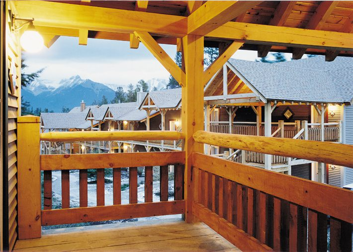 Normerica Timber Frames, Commercial Projects, Buffalo Mountain Lodge, Hotel, Banff, Canada, Exterior, Balcony