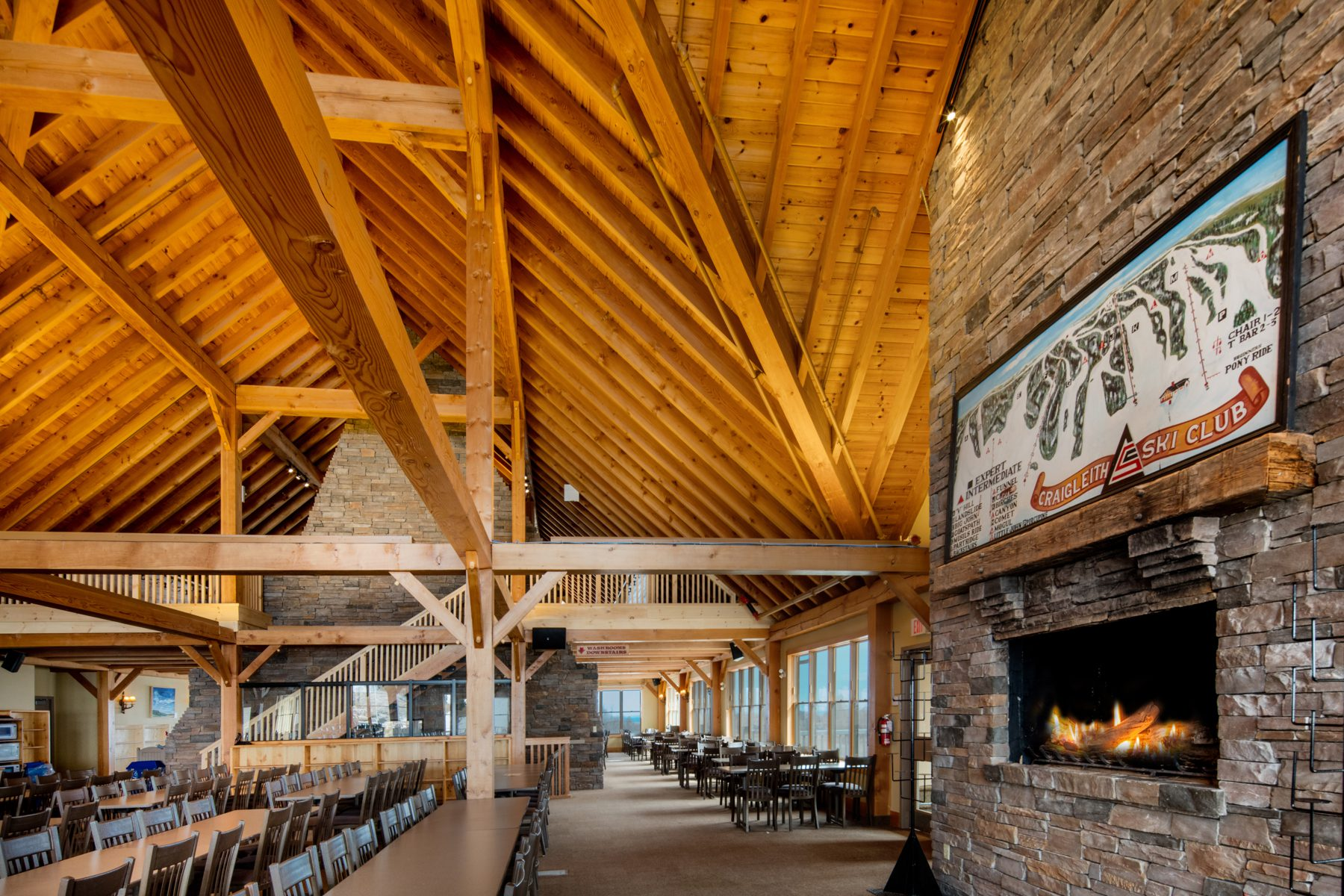 Normerica Timber Frame, Commercial Project, Craigleith Ski Club, Ski Resort, Collingwood, Ontario, Interior, Fireplace