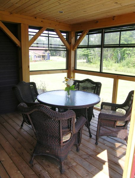 Normerica Timber Frame, Commercial Project, The Cottages at Diamond 'In the Ruff', Muskoka Lakes, Ontario, Porch