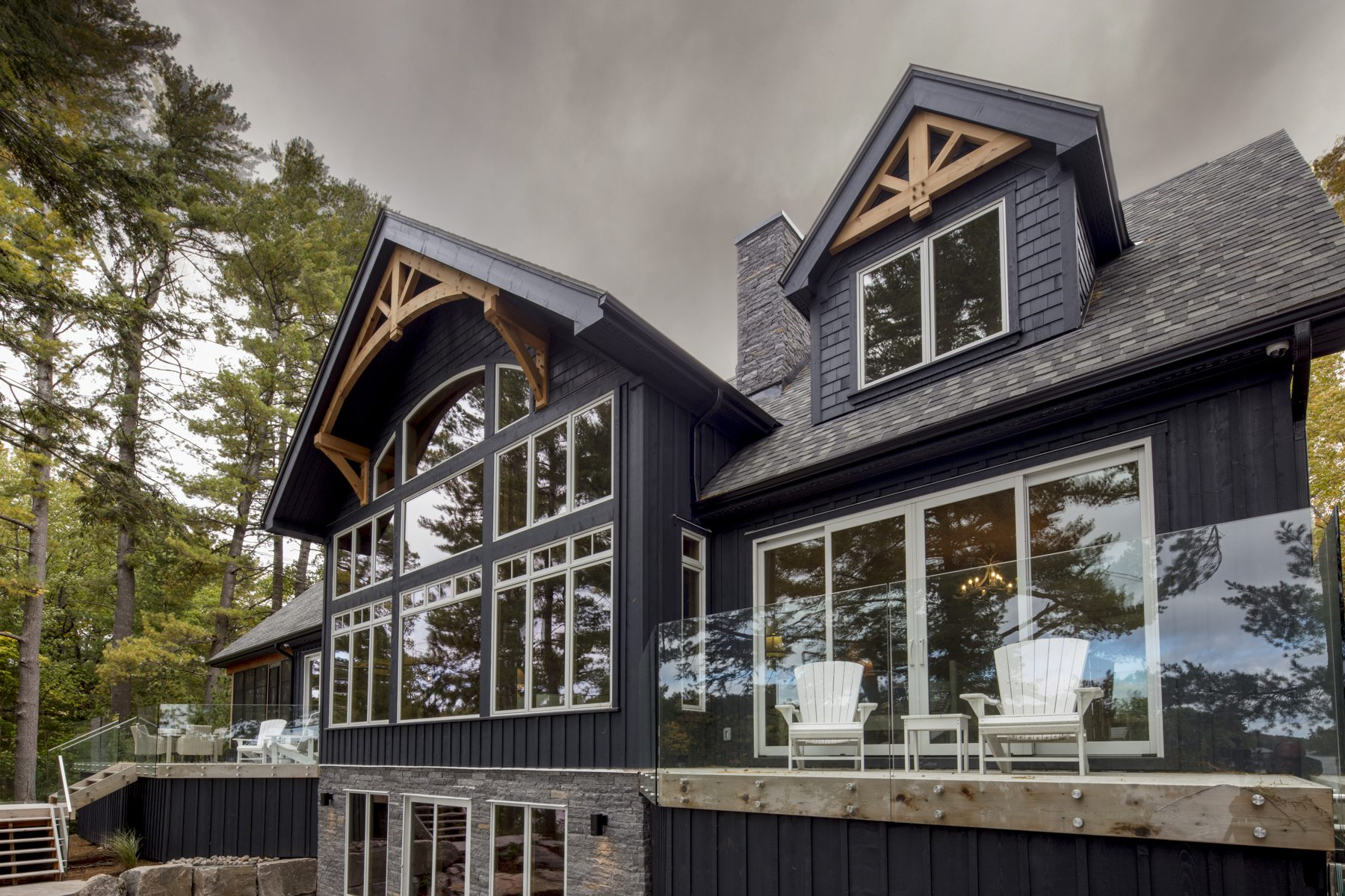 Normerica Timber Frame, Exterior, Cottage, Rear View, Lake View, Porch, Deck