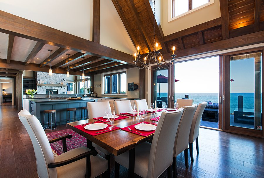 Normerica Timber Frame, Interior, Cottage, Dining Room, Open Concept, Cathedral Ceiling
