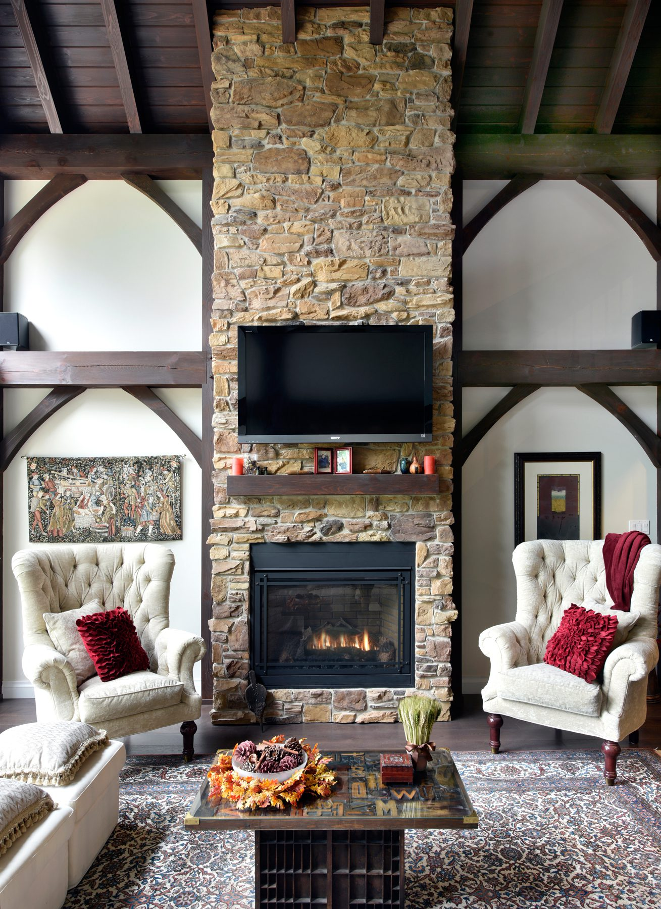 Normerica Timber Frame, Interior, Cottage, Fireplace, Living Room, Great Room, Cathedral Ceiling