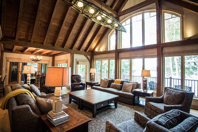 Normerica Timber Frame, Interior, Cottage, Living Room, Great Room, Cathedral Ceiling