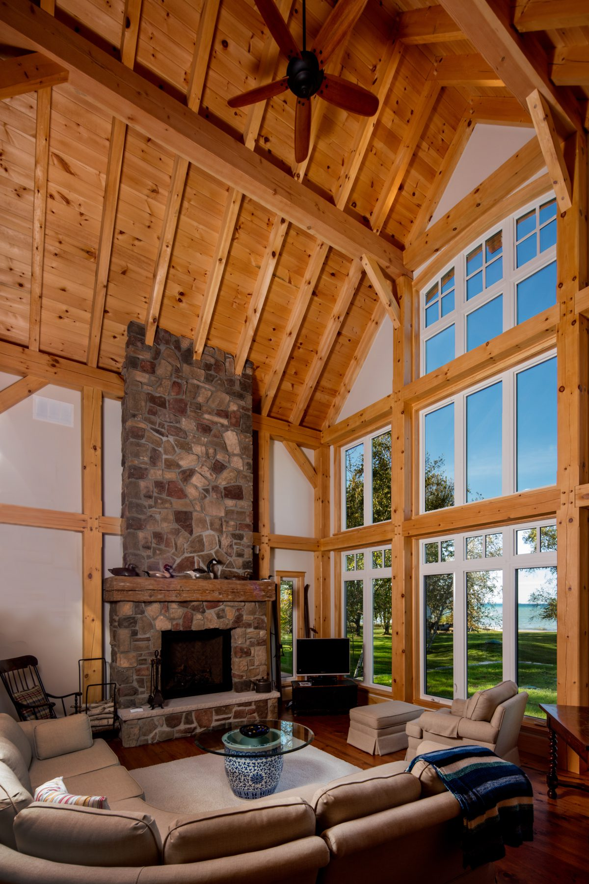 Normerica Timber Frame, Interior, Cottage, Living Room, Great Room, Fireplace, Cathedral Ceiling, View of the Lake