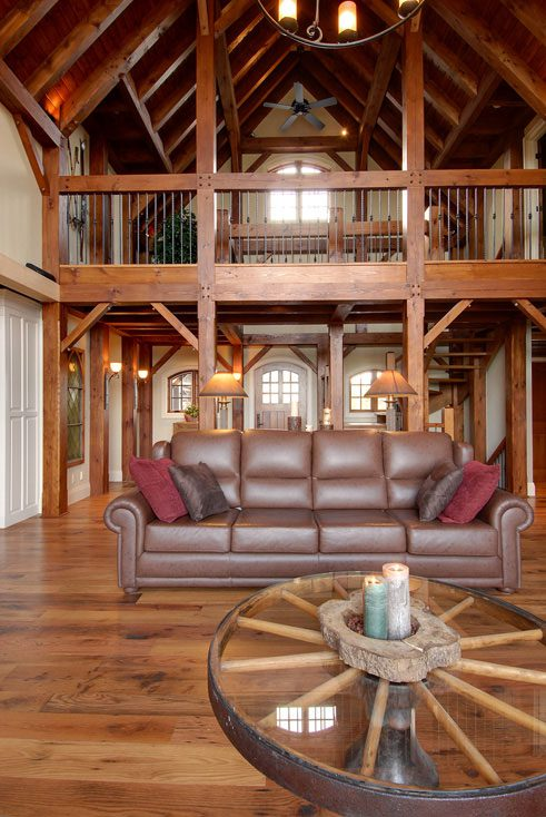 Normerica Timber Frame, Interior, Cottage, Living Room, Great Room, Loft, Open Concept, Cathedral Ceiling
