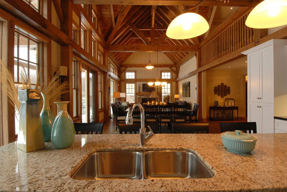 Normerica Timber Frame, Interior, Kitchen, Dining Room, Cathedral Ceiling