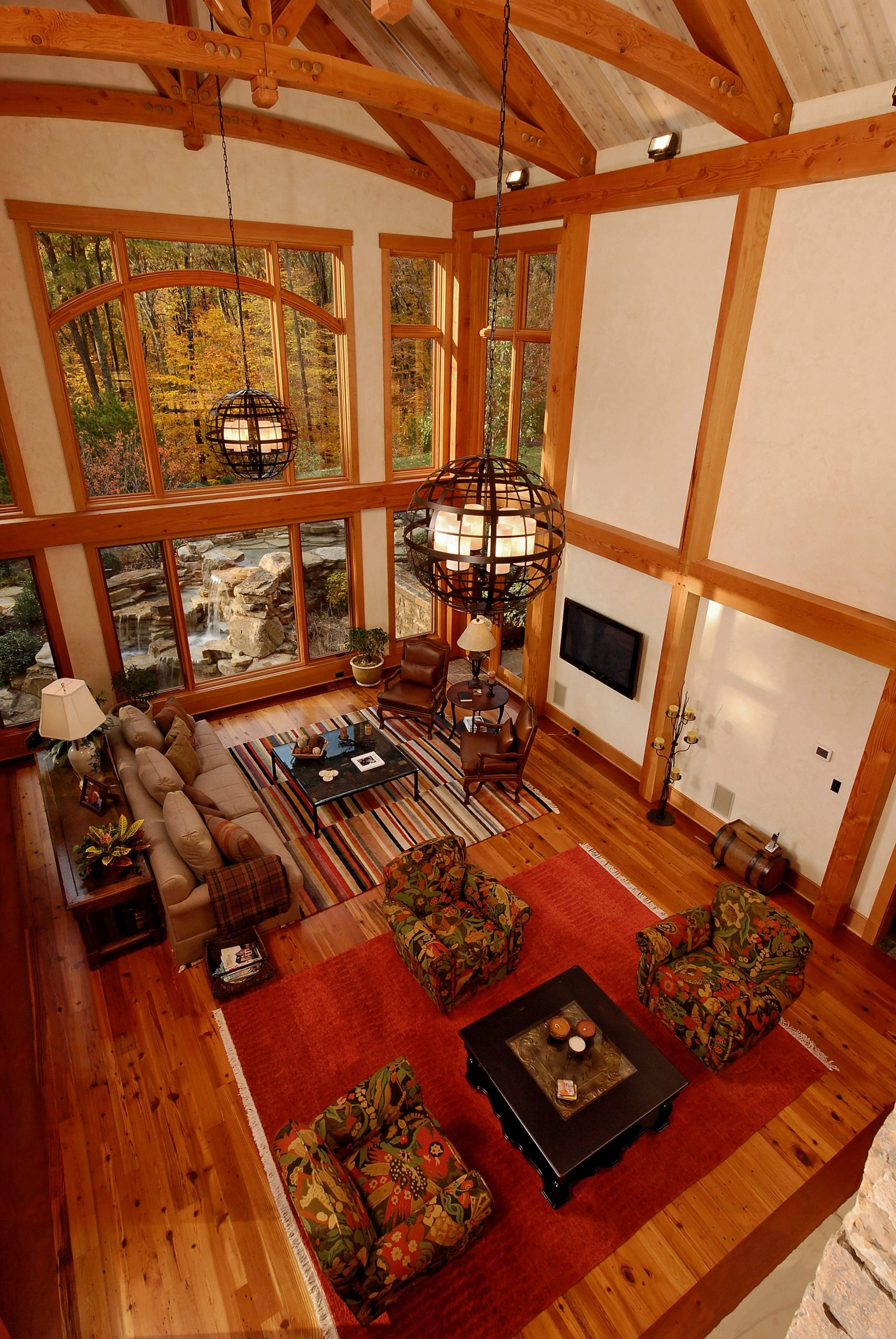 Normerica Timber Frame, Interior, Living Room, Great Room, Open Concept, Cathedral Ceiling