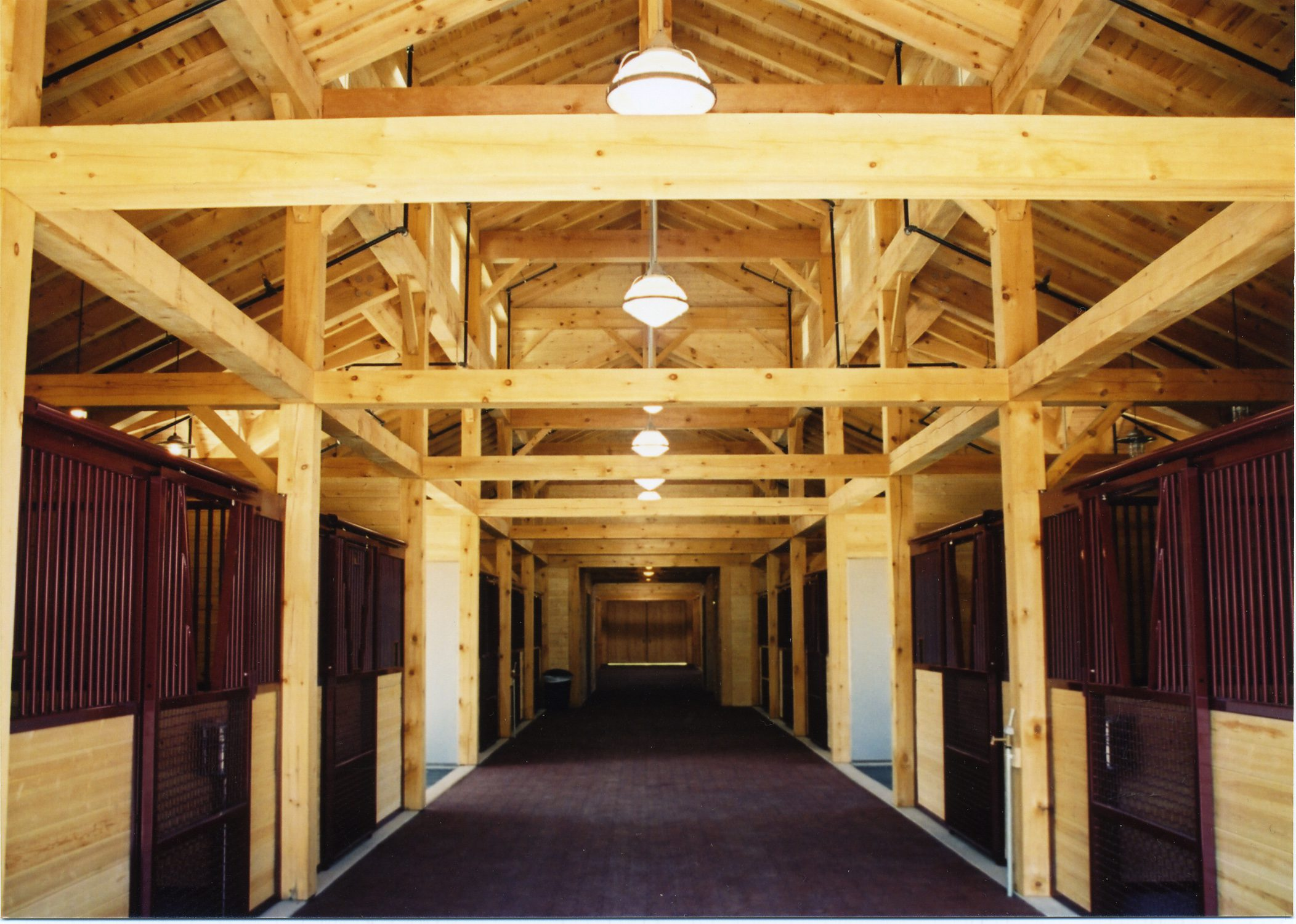 Normerica Timber Frames, Commercial Project, Chaparral Ranch, Barn Stalls, Aspen, USA, Interior