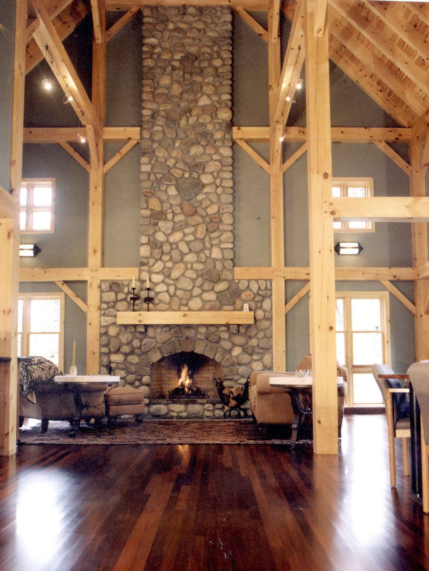 Normerica Timber Frames, Commercial Projects, Buffalo Mountain Lodge, Hotel, Banff, Canada, Interior, Fireplace