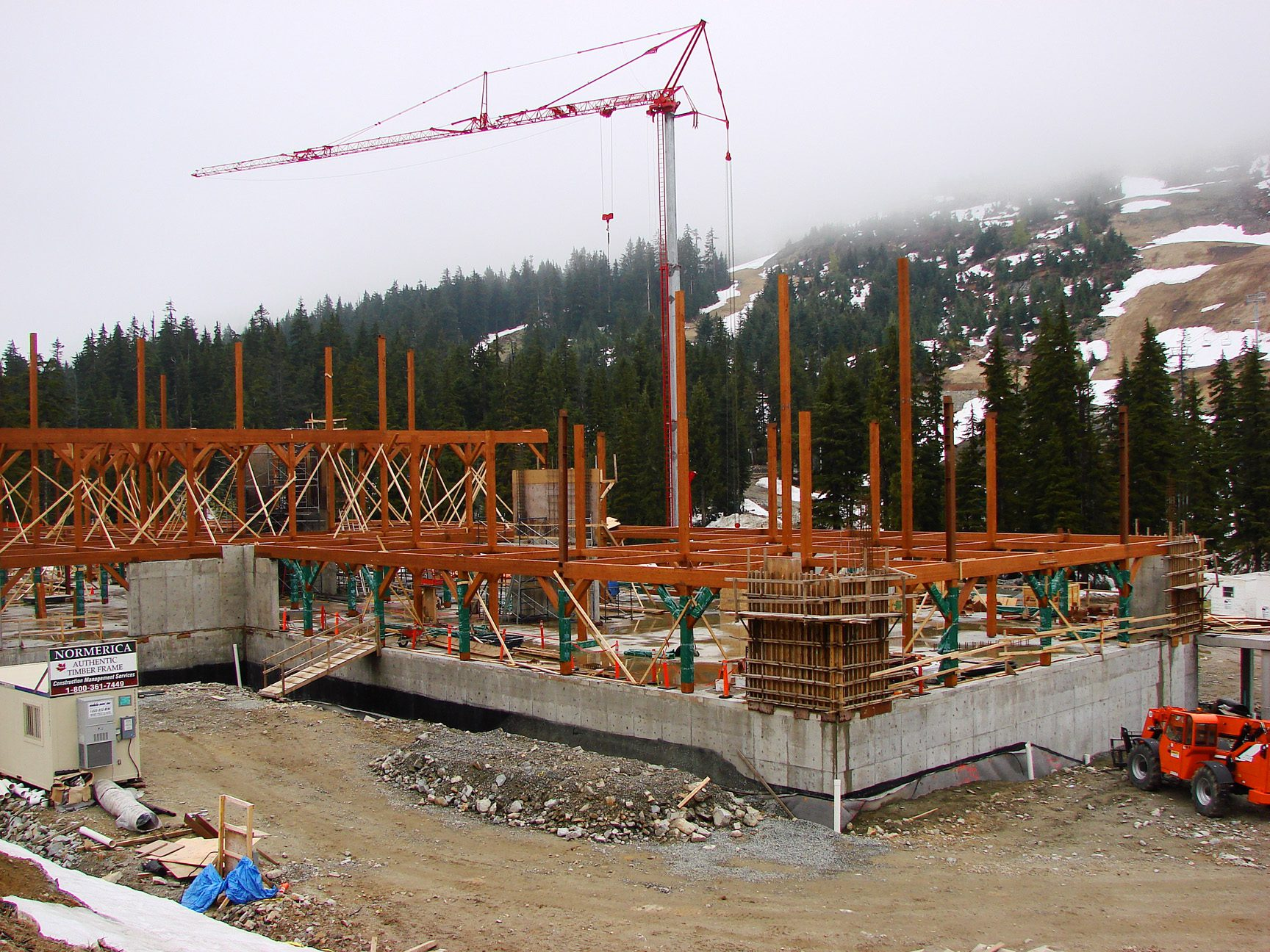 Normerica Timber Frame, Commercial Project, Cypress Mountain Day Lodge, Ski Resort, West Vancouver, British Columbia, Exterior, Construction