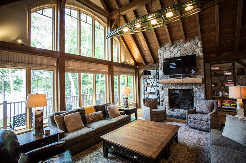 Normerica Timber Frame, Interior, Cottage, Great Room, Living Room, Fireplace, Cathedral Ceiling