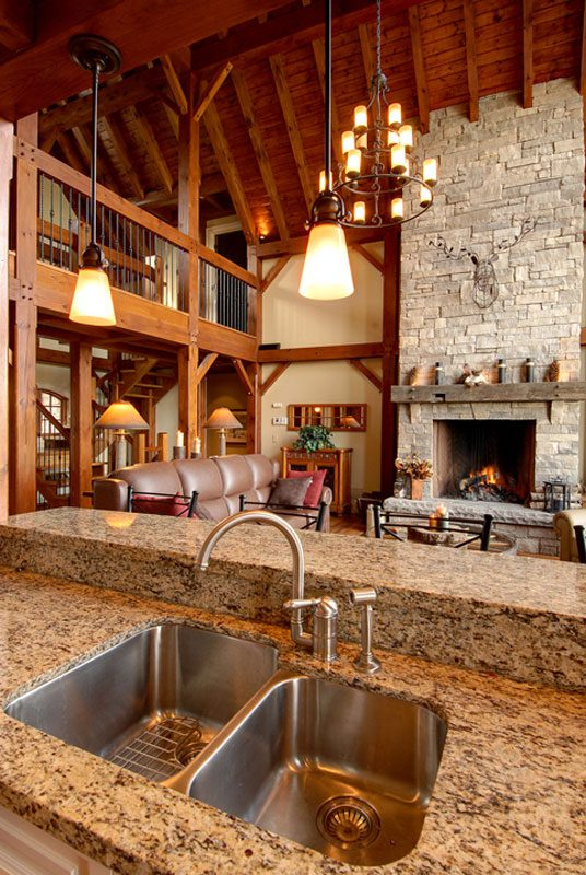 Normerica Timber Frame, Interior, Cottage, Kitchen, Fireplace, Open Concept, Cathedral Ceiling