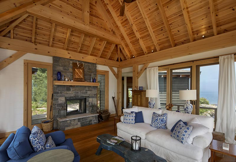 Normerica Timber Frame, Interior, Cottage, Living Room, Fireplace, Cathedral Ceiling