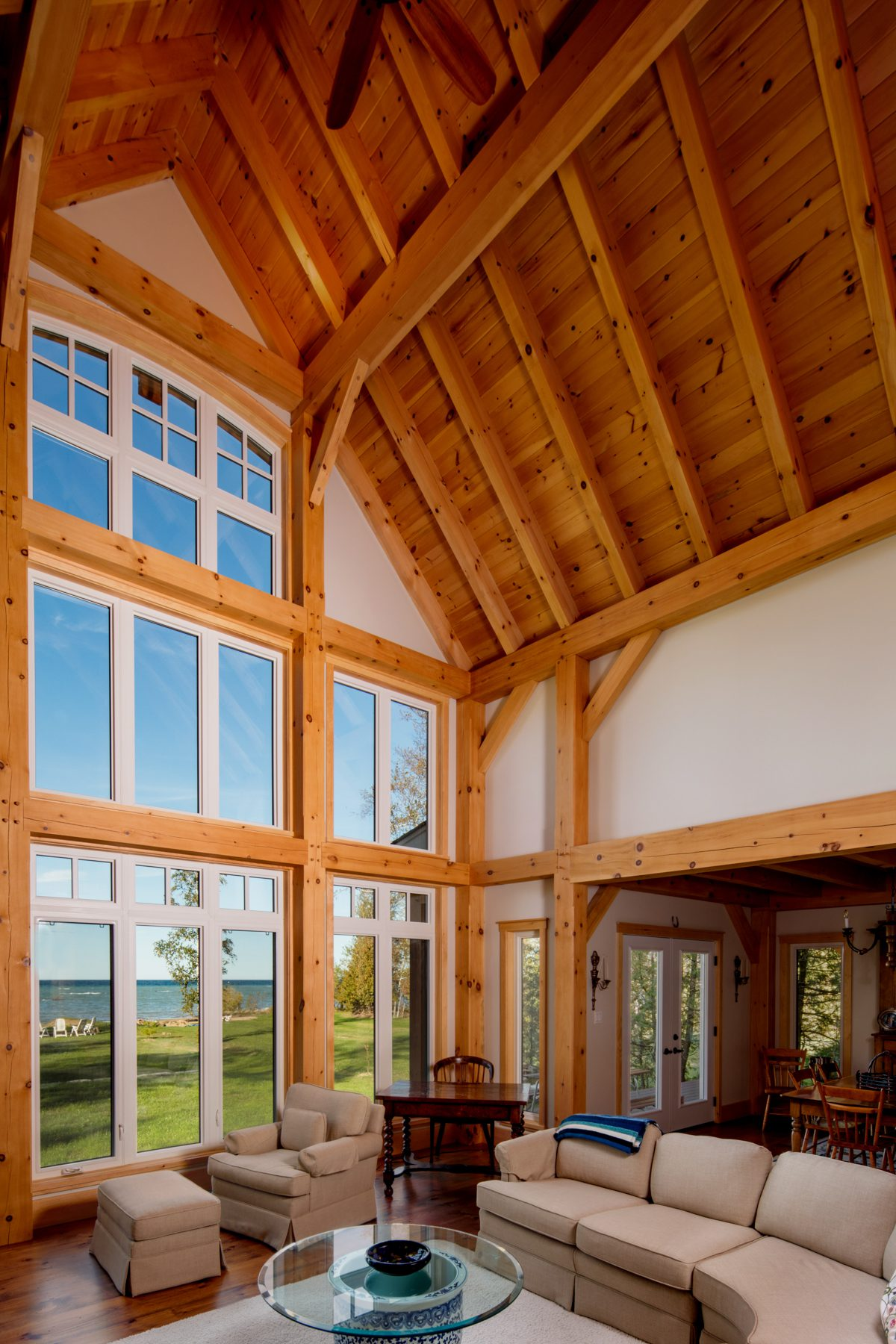 Normerica Timber Frame, Interior, Cottage, Living Room, Great Room, Cathedral Ceiling, View of the Lake