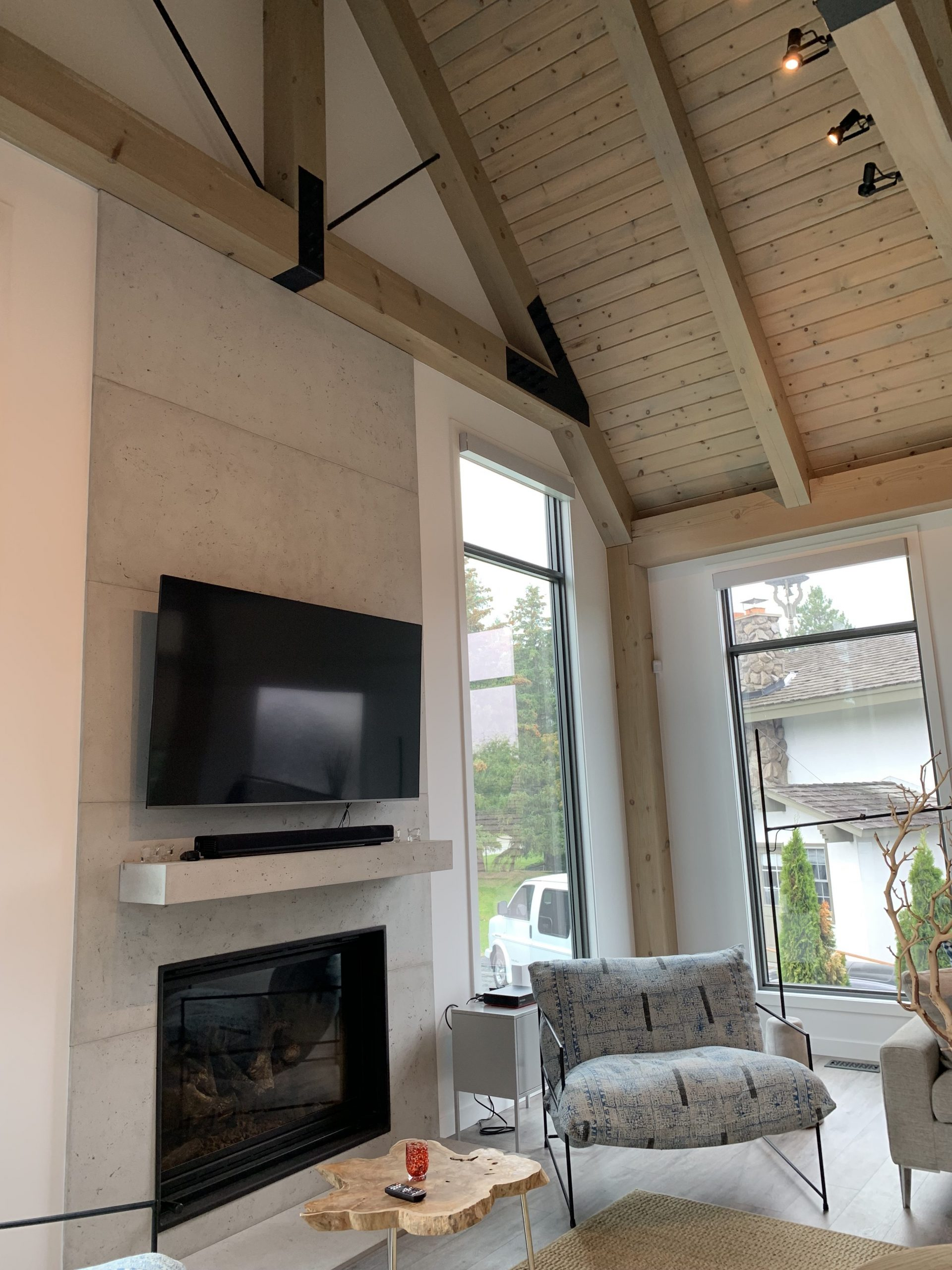 Normerica Timber Frame, Interior, Fireplace, Modern, Contemporary, Cathedral Ceiling