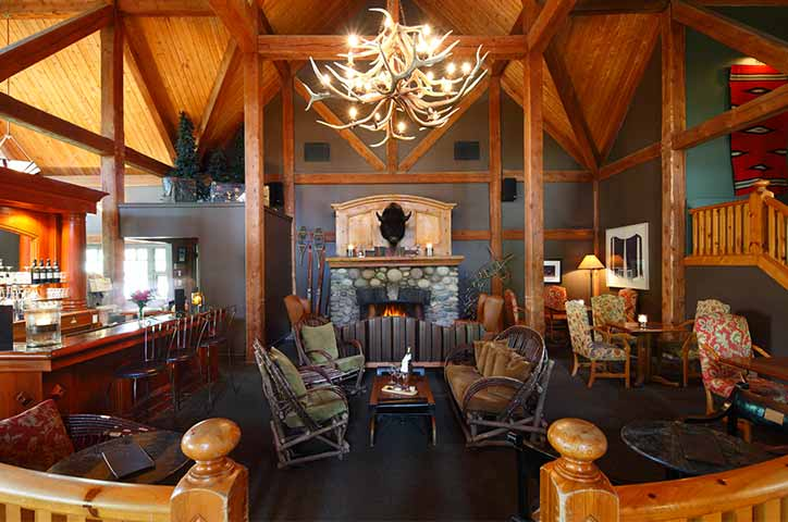 Normerica Timber Frames, Commercial Projects, Buffalo Mountain Lodge, Hotel, Banff, Canada, Interior, Lounge
